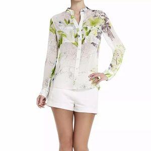 BCBG Maxazria Loora Printed Long Sleeve Blouse, XS